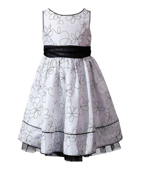 White & Black Daisy Ribbon Dress - Toddler & Girls