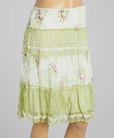 Green Floral Tiered Silk Skirt