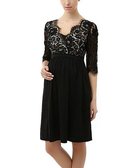 Black Adela Maternity Dress