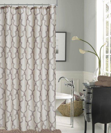 Dainty Home Ivory Geometric Shower Curtain Zulily