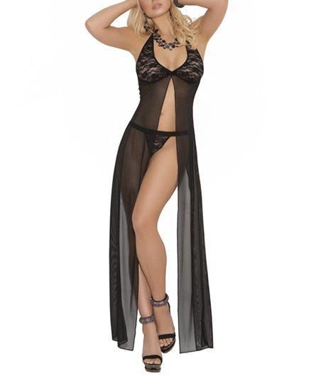 Mesh Flyaway Nightgown & G-String - Women