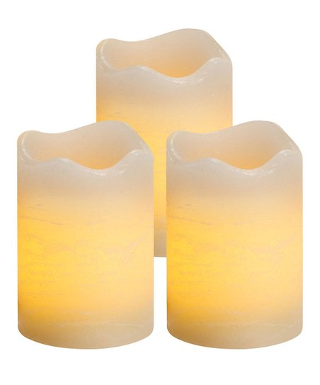 Vanilla Rustic Flameless Votive Candle - Set of Three