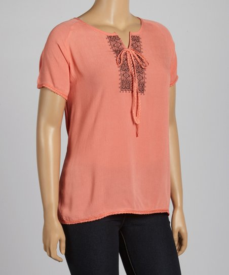Coral Embroidered Notch Neck Top - Plus