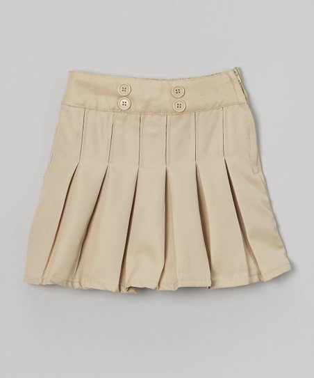 beverly polo club khaki pleated button skirt