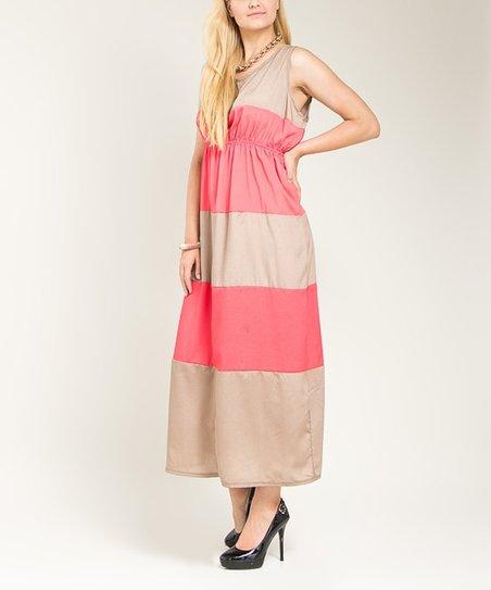Coral & Tan Color Block Sleeveless Empire-Waist Dress - Plus