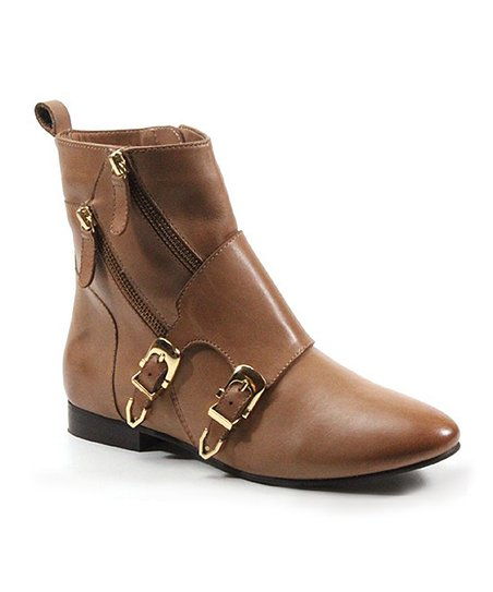 Cognac Point Out Leather Bootie