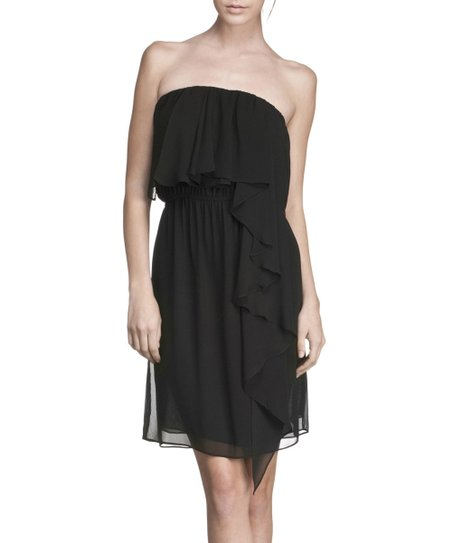 Black Ruffle Strapless Dress