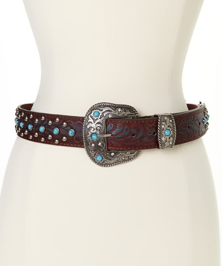 i accessories silvertone brown turquoise stud cross