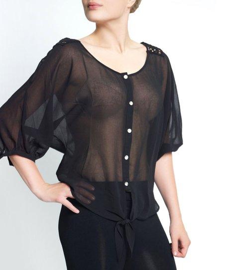Black Sheer Crochet Button-Up Top - Women