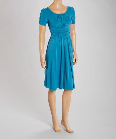 Teal Rhinestone Ruched A-Line Dress