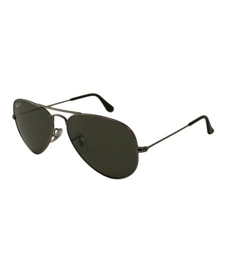 Gunmetal & Green 58-mm Aviator Polarized Sunglasses