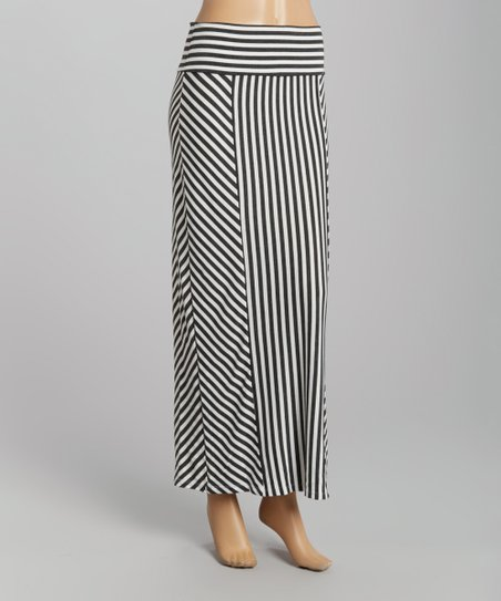White & Black Chevron & Stripe Maxi Skirt