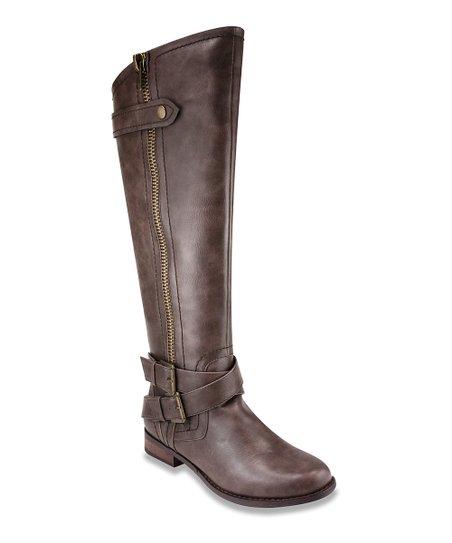 brown buckle knee high boot