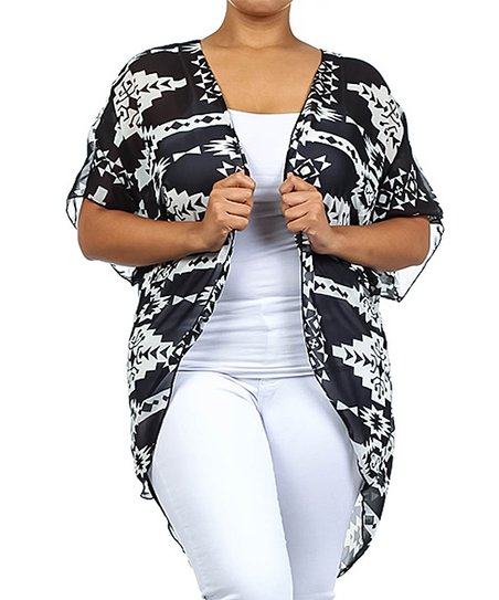 Black & White Tribal Open Cardigan – Plus