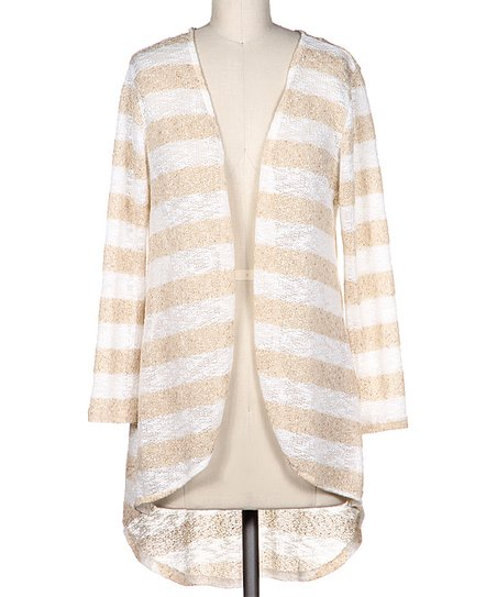 Taupe Stripe Knit Open Cardigan