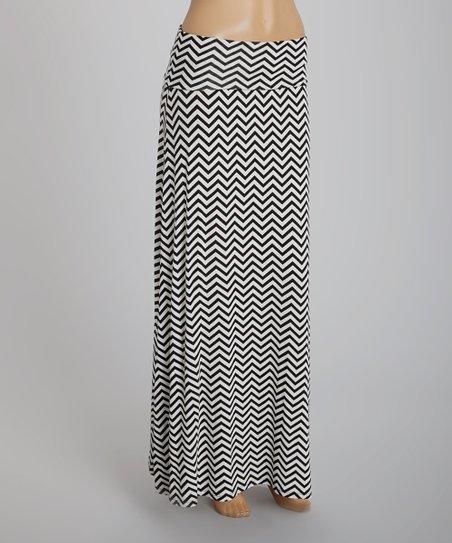 Black & White Chevron Maxi Skirt
