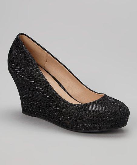 Black Glitter Soft Wedge