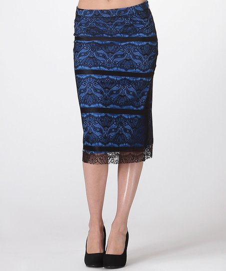 carapace black blue lace pencil skirt zulily
