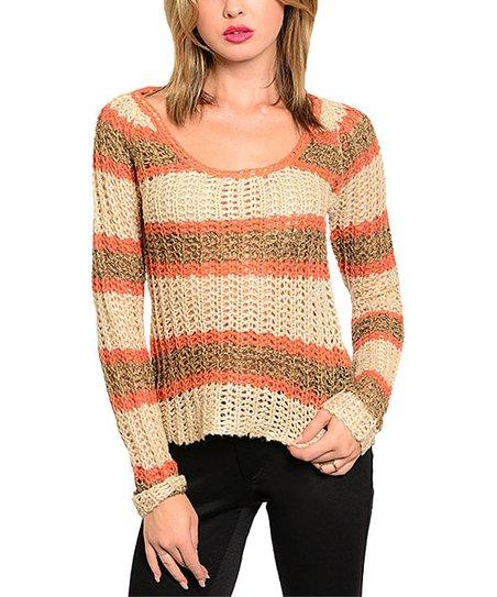 Orange & Cream Stripe Open-Knit Sweater