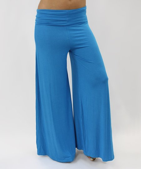 Turquoise Blue Comfy-Chic Palazzo Pants - Women