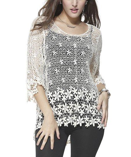 White Floral Crochet Hi-Low Top