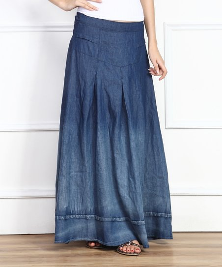 blue ombr 233 chambray maxi skirt zulily