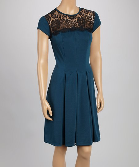 Teal Lace-Accent Cap-Sleeve Dress