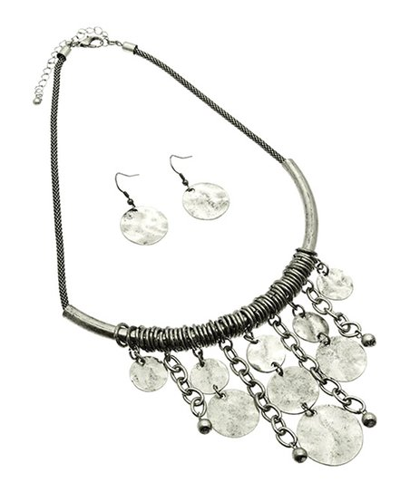 Antique Silver Circle Fringe Bib Necklace & Earrings
