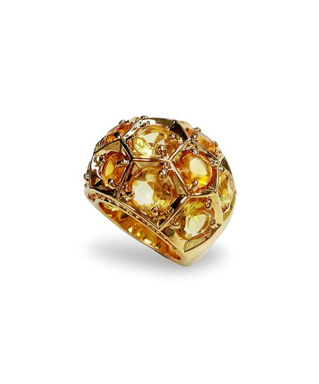 Yellow Gold & Crystal Honeycomb Ring