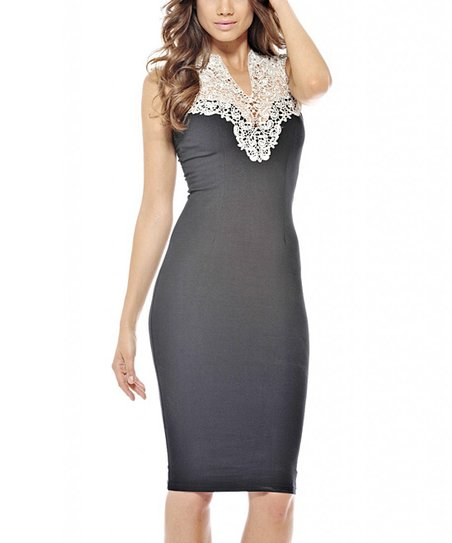 Black Crochet-Yoke Sleeveless Dress