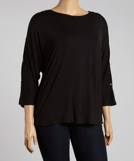 Black Drape Scoop Neck Top – Plus