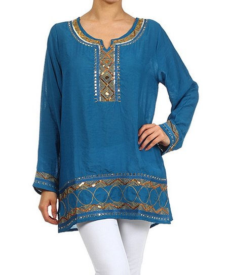 Teal Geo Sequin Embroidered Notch Neck Tunic