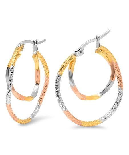 Tri-Tone Double Circle Hoop Earrings