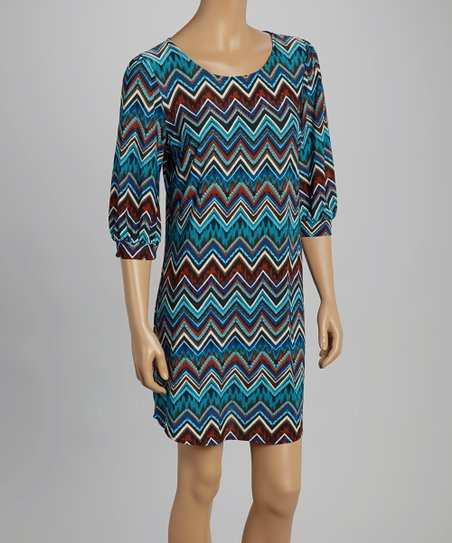 Blue & Red Zigzag Shift Dress