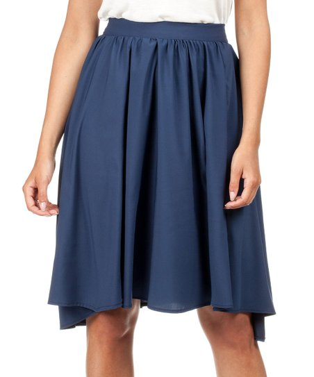 moe navy blue asymmetrical a line skirt zulily