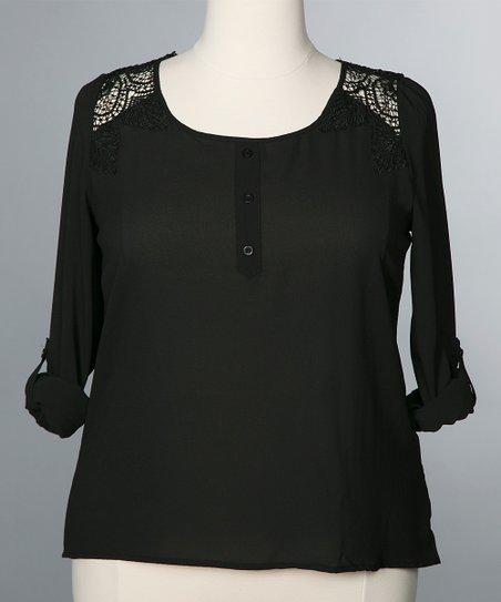 Black Crochet Parker Blouse
