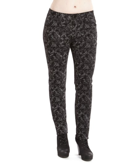 Black Trellis Skinny Pants