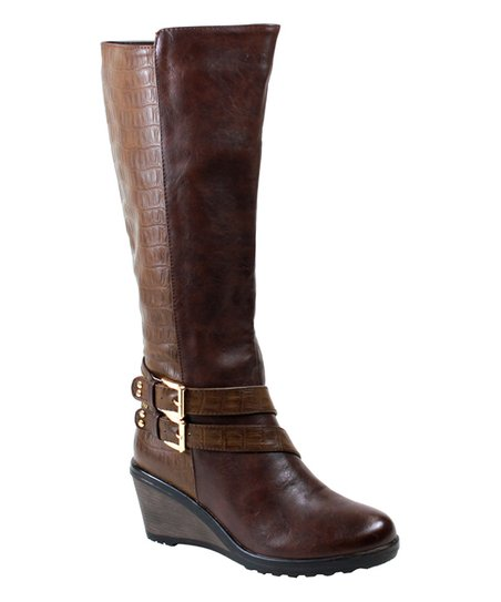 reneeze brown scale macy wedge boot zulily