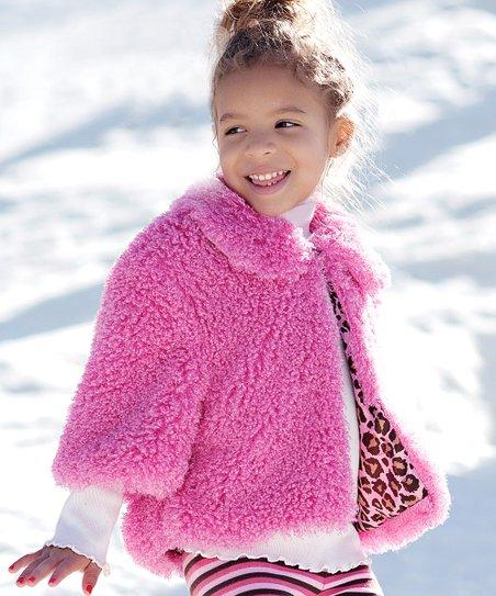 Pink Poodle Faux Fur Bubble Jacket - Toddler
