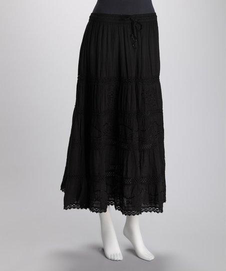 lebaz black tiered crochet maxi skirt zulily