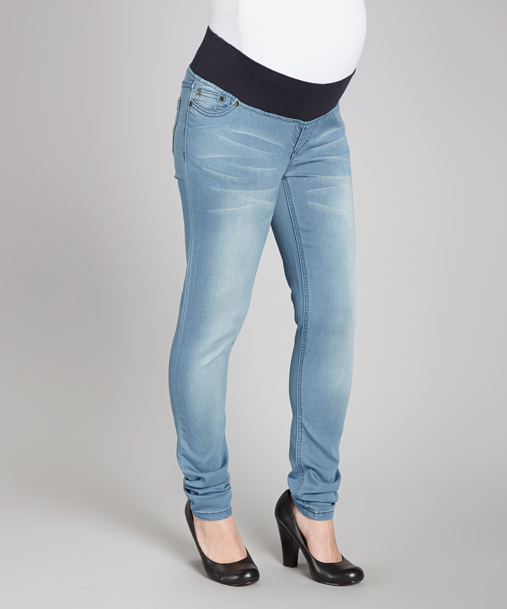 oh mamma light wash under belly maternity skinny jeans. Black Bedroom Furniture Sets. Home Design Ideas
