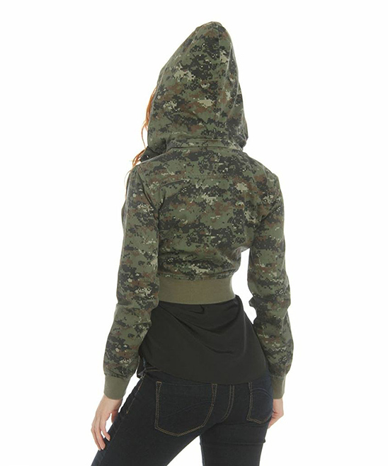 Camouflage Cropped Hoodie Jacket | zulily