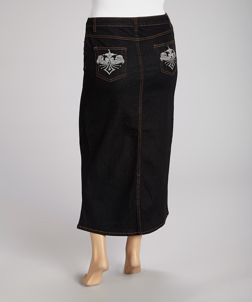 blue maxi denim skirt plus zulily