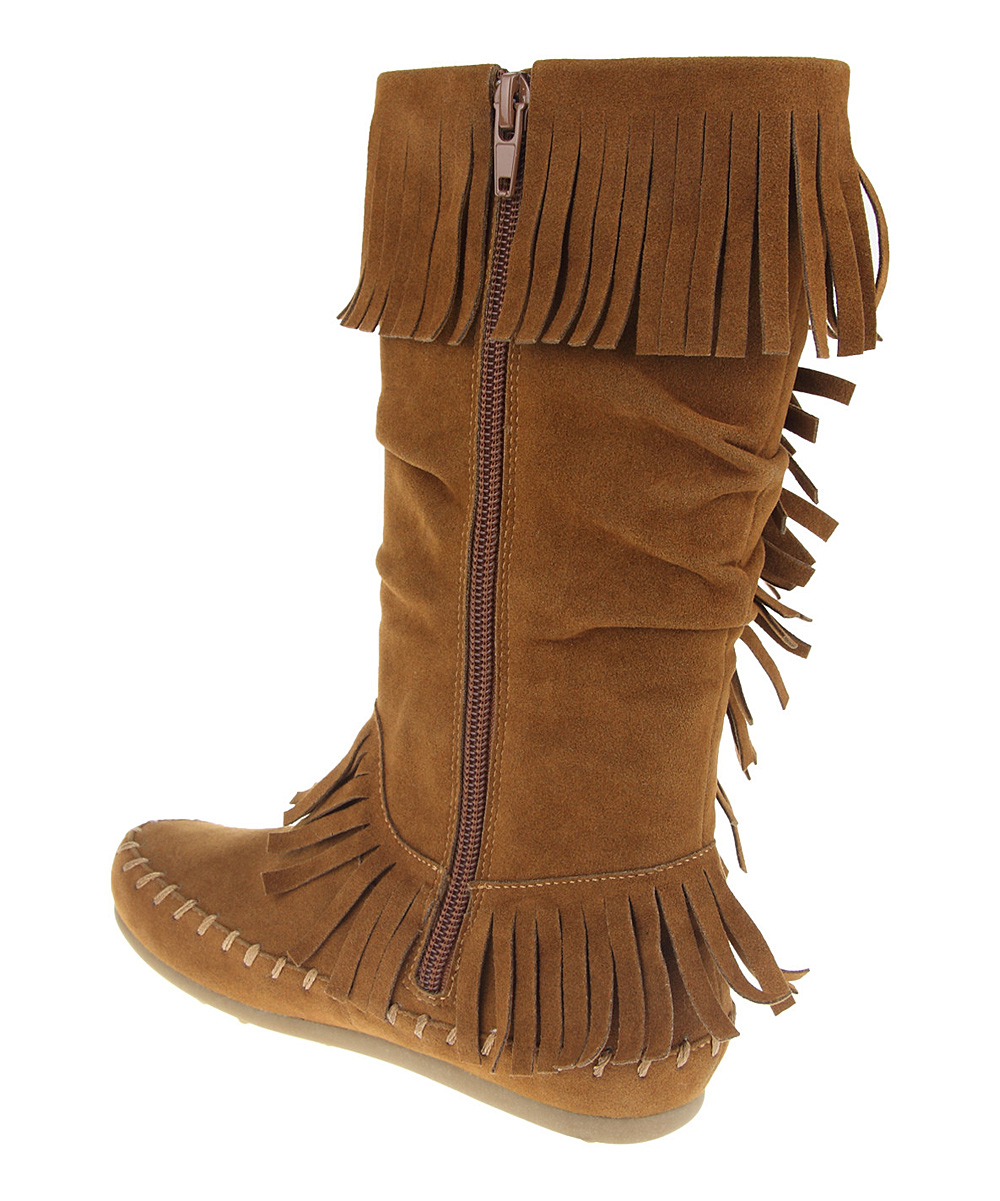 ruum brown fringe moccasin boot zulily