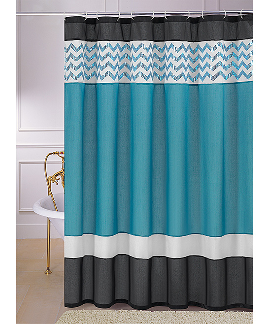 Teal And Black Shower Curtain Black and White Stripe Shower