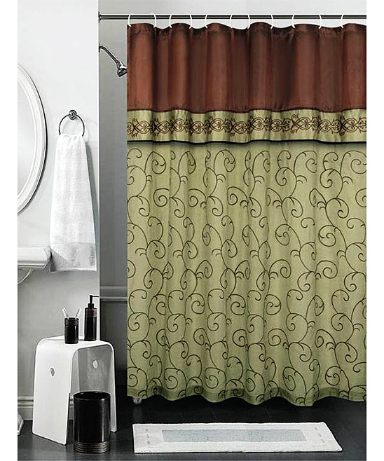 Sage Embroidered Sima Shower Curtain