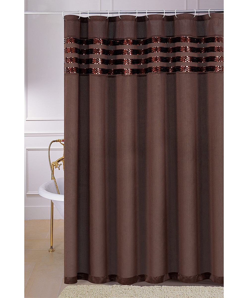 Brown Sequin Moline Shower Curtain