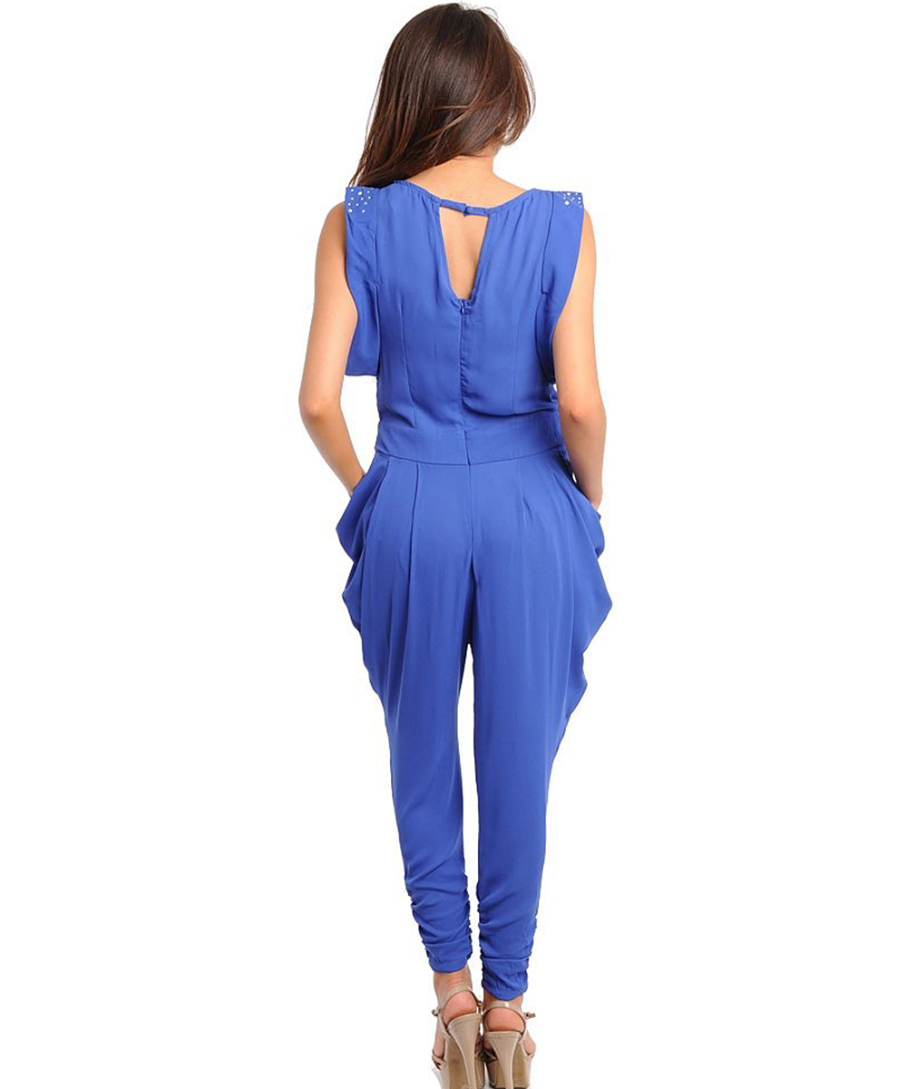 Luxury Cheap Royal Blue V Neck Belt Embellished Jumpsuit
