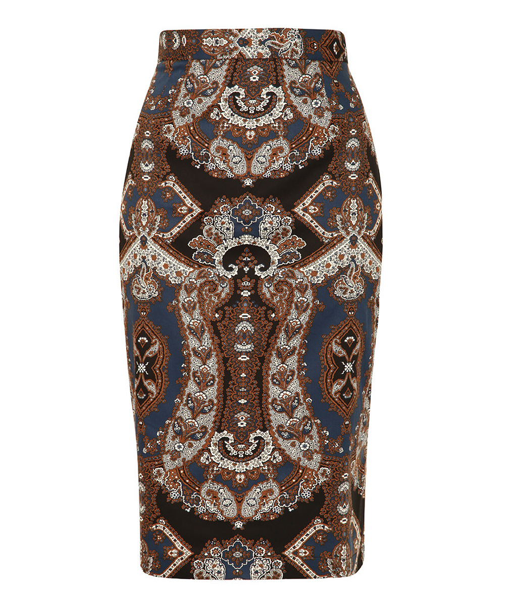 louche blue brown paisley pencil skirt zulily