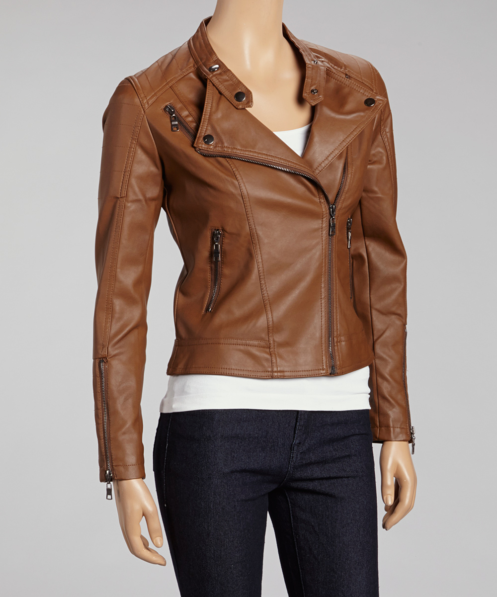 tan faux leather moto jacket
